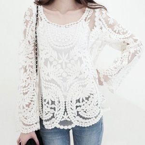 Moffi white embroidered top